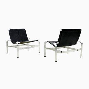 Lounge Stühle aus Aluminium und Leder von Walther Knoll, 2er Set