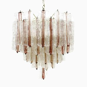 Large Two-Tone Pink and White Venini Murano Chandelier by Toni Zuccheri, 1960s
