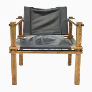 Safari Lounge Chair in Oak and Leather by Gerd Lange for Bofinger