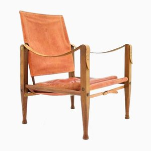 Light Red Leather Safari Chair by Kaare Klint for Rud Rasmussen