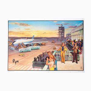 Flughafen Schulwandkarte von Quirin Haslinger, 1964