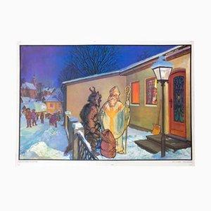Krampus und der Nikolaus Schulwandkarte von Quirin Haslinger, 1964