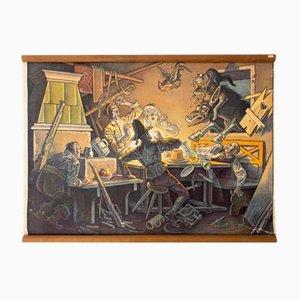 Town Musicians of Bremen Fairy Tale Wall Chart by Franz Wacik, 1929