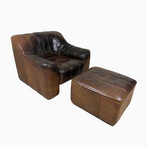 Vintage DS 44 Sessel & Fußhocker von de Sede, 1970er