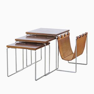 Rosewood Nesting Tables with Leather Magazine Rack from Brabantia
