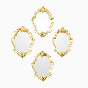 Kleine Goldene Italienische Spiegel, 4er Set