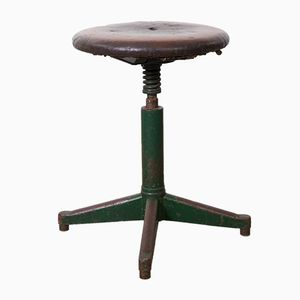 Industrial Stool with Leather Seat, 1930s