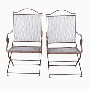 Antique Chain Mail Garden Chairs, Set of 2