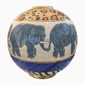 Large Vase Vintage Forme Sphère avec Éléphants en Email par Danillo Curreti