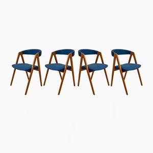 Skandinavische Vintage Teak Stühle mit Blauen Bezügen, 4er Set