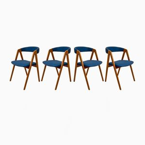 Vintage Scandinavian Teak Chairs with Deep Blue Fabric, Set of 4