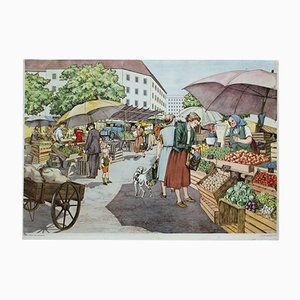 School Wall Chart Depicting a Market by A. Hoffmann for Erwin Metten, 1954