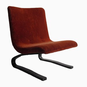 Vintage Scandinavian Lounge Chair with Curved Wooden Legs, 1970s