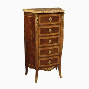 French Inlaid Chest of Drawers with Marble Top