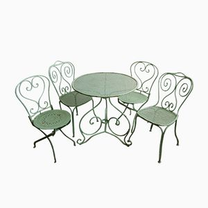 Antique Garden Set with a Table and 4 Chairs, 1860s