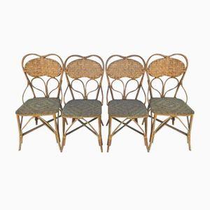 Französische Vintage Rattan Stühle, 4er Set