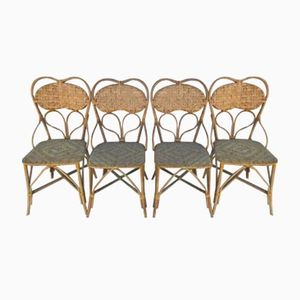 Vintage French Rattan Chairs, Set of 4