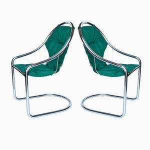 Vintage Chrome-Plated & Green Fabric Chairs, Set of 2
