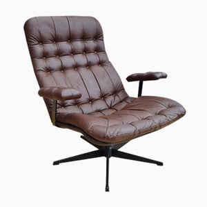 Mid-Century Danish Brown Leather Swivel Chair, 1970s