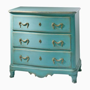 Vintage Chest of Drawers in Blue with Brass Fittings