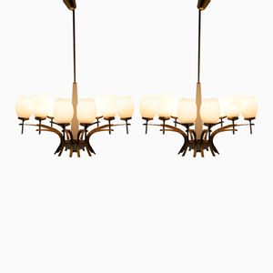 Mid-Century Brass and Opaline Glass Chandeliers, 1960s, Set of 2