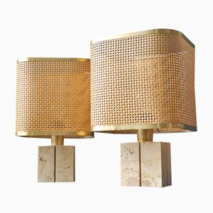 Mid-Century Italian Travertine and Bast Table Lamps by Fratelli Mannelli, 1960s, Set of 2
