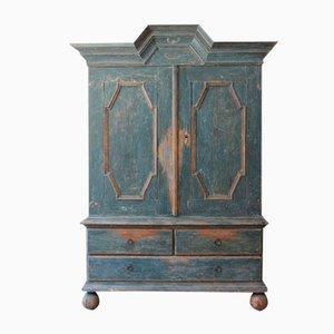 Swedish Blue-Painted Pine Cupboard, 1700s