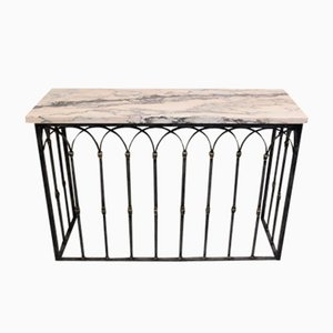 Mid-Century French Iron and Marble Console Table