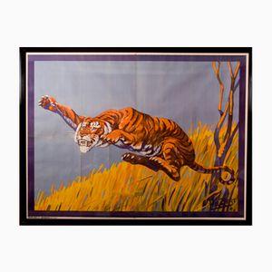 Springender Tiger Zirkusposter von Hal Bert für Moody Bros, 1940er