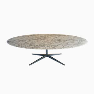 White Oval Calacatta Marble Dining Table by Florence Knoll