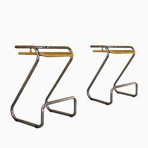 Vintage Italian Chrome and Wicker Bar Stools, Set of 2