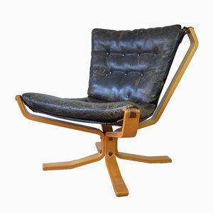 Falcon Chair with Buffalo Leather by Sigurd Resell, 1970s