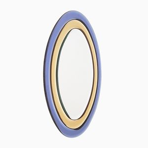 Yellow & Blue Oval Mirror, 1970s