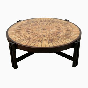Mid-Century Ceramic and Wood Coffee Table by Roger Capron
