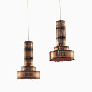 Lampes à Suspension Brutalistes en Cuivre par Svend Aage Holm Soresen, Set de 2