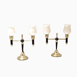 Lampes de Chevet Mid-Century en Forme de T en Laiton et en Verre de Maison Arlus, Set de 2