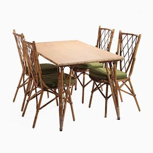 Table and Four Garden Chairs by Audoux & Minet, 1950s
