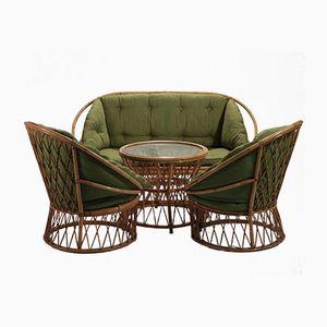 Sofa und zwei Sessel von Audoux & Minet, 1950er
