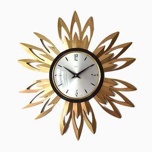 Horloge Murale Forme Rayons de Soleil en Cuivre par Smiths,1960s