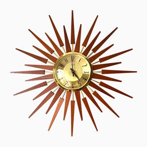 Grande Horloge Murale Forme Rayons de Soleil Vintage en Teck de Anstey & Wilson