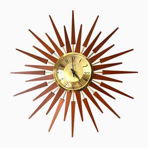 Vintage Large Sunburst Teak Wall Clock from Anstey & Wilson