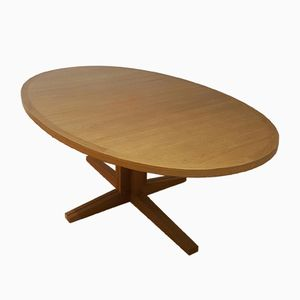 Blonde Oval Teak Table by John Mortensen for Heltborg, 1960s