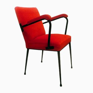 French Bright Red Armchair, 1950s