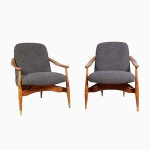Mid-Century Armlehnstühle aus Kirschholz & Wolle, 1950er, 2er Set