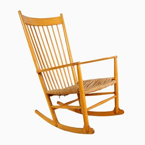 Vintage J16 Beech Rocking Chair by Hans J. Wegner