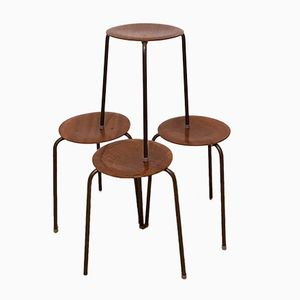 Industrial Tripod Plywood Stacking Stools, 1960s, Set of 4