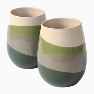 Skala Mugs with Green & Grey Gloss by Anbo Design, Set of 2