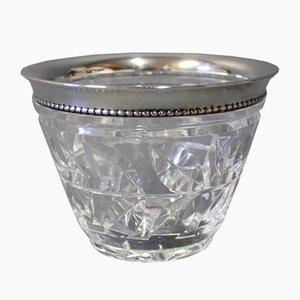 Dänische Kristallglas Schale mit Silbernen Rand, 1930er