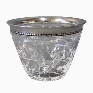 Danish Crystal Bowl with Silver Rim, 1930s