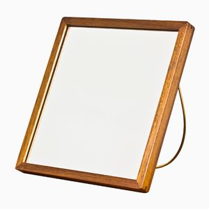 Finnish Mahogany and Brass Table Mirror, 1950s